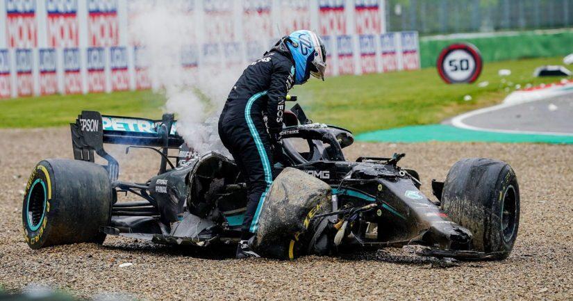 Valtteri Bottas joutui Imolan F1-kilpailussa rajuun kolariin