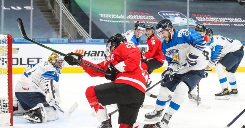 Kanada ja Suomi pelasivast Edmontonissa tyhjille katsomoille