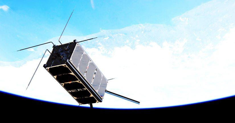 Havainnekuva Kansainväliseltä avaruusasemalta irrotettavasta Aalto-2-satelliitista.