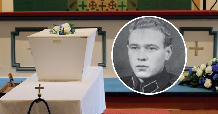 Sotamies Aate Matias Hautamäki siunattiin haudan lepoon Nivalan kirkossa.