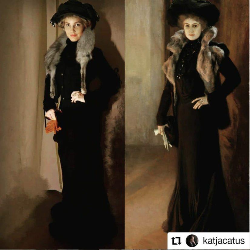Katja Ylisiurua innostui haasteesta ja loi uudelleen Edelfeltin teoksen Laulajatar Aino Acktén muotokuva (1901).