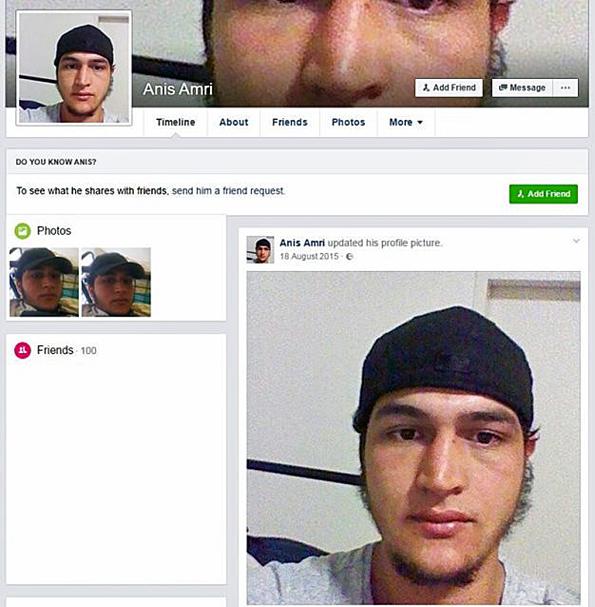 Anis Amrin Facebook-profiili poistettiin, kun Berliinin iskusta epäillyn nimi julkistettiin.