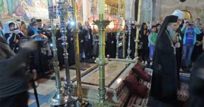 Arkkipiispa Leo vieraili Golgatan kappelissa Jerusalemissa