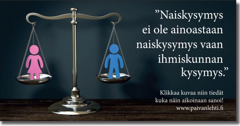 """Päivän sitaatti: """"Naiskysymys ei ole ainoastaan naiskysymys vaan ihmiskunnan kysymys."""""""