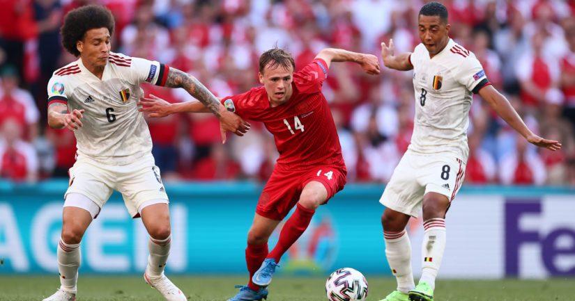 Belgia voitti Tanskan jalkapallon EM-kisaottelussa 2-1 (Kuva Martin Rose/ UEFA)
