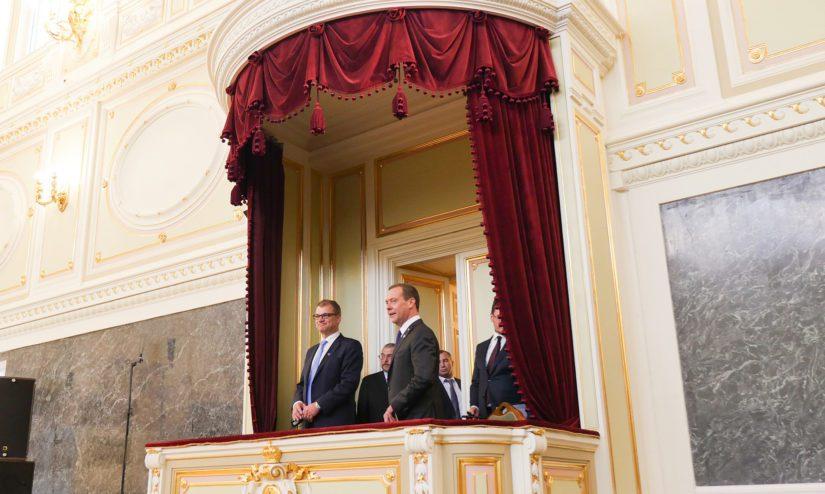 Sekä pääministeri Sipilä että pääministeri Medvedev puhuivat Suomalais-venäläisen kulttuurifoorumin avajaisissa.