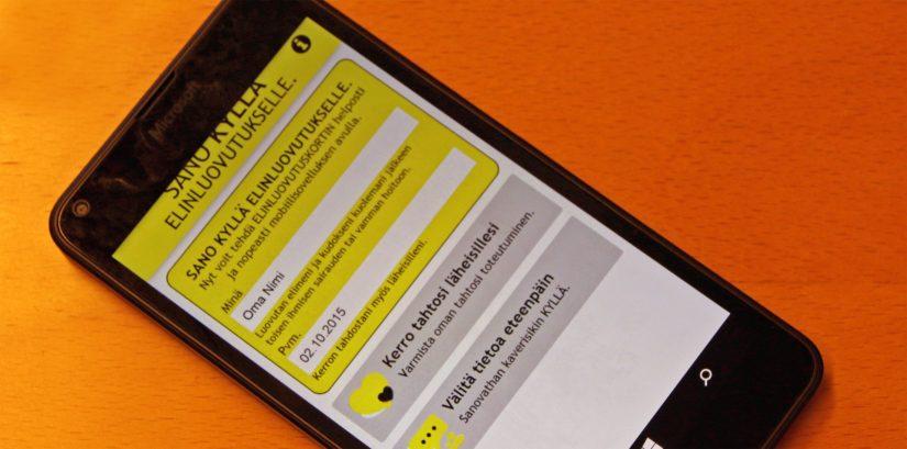 Elinluovutuskortin voi tehdä myös puhelimella mobiilisovelluksen avulla.