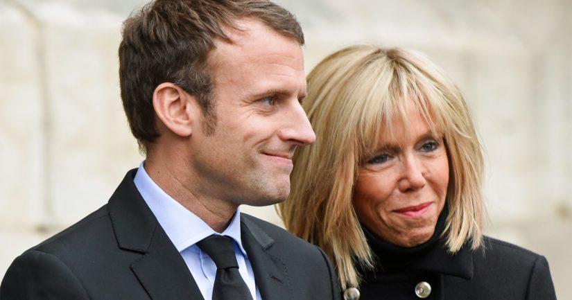 Emmanuel Macron puolisonsa Brigitten kanssa, presidentin suosio ei osoita laantumisen merkkejä.