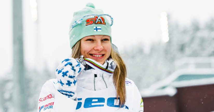 Eveliina Piippo hiihti MM-hopeaa alle 23-vuotiaiden naisten 10 kilometrin vapaan hiihtotavan kilpailussa. (