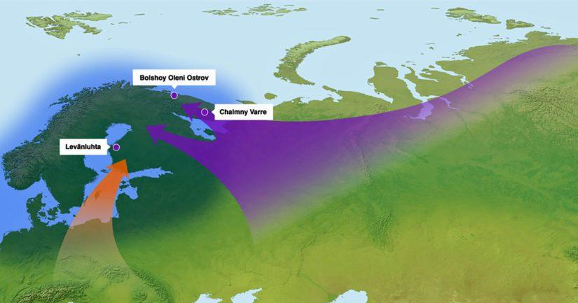 Kartta muinaisista geenivirroista Suomen alueelle sisältää arkeologiset kohteet, joista saatiin DNA-näytteitä.