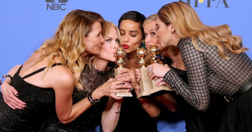 Big Little Lies -näyttelijät Laura Dern, Nicole Kidman, Zoe Kravitz, Reese Witherspoon ja Shailene Woodley juhlivat minisarjan saamaa Golden Globe -palkintoa.