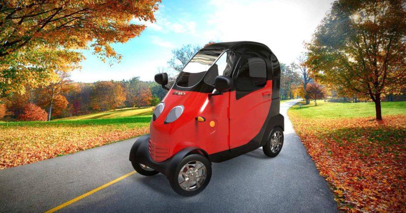 Polkupyörästä GoMoton erottaa se, että siinä on sähkömoottori, neljä pyörää ja suojakuori.