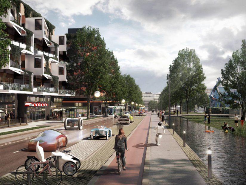 Tältä näyttäisi Hämeenlinnanväylän kaupunkibulevardi vuonna 2050.