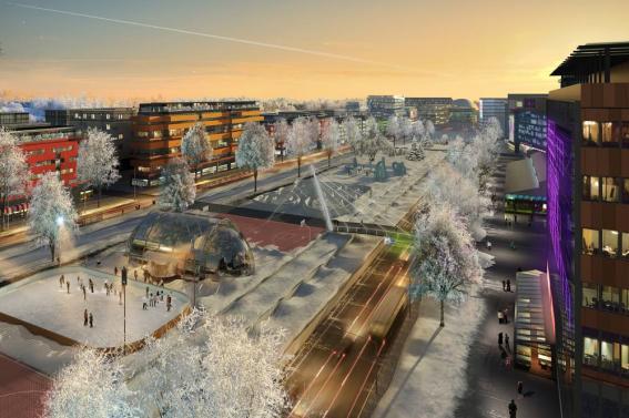 Yleiskaavan pohjana olevassa havainnekuvassa talvinen kaupunkibulevardi on kuin tieteiselokuvasta.