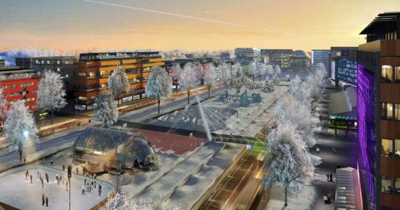 Talvinen havainnekuva Hämeenlinnanväylästä näyttää kuin tieteisfilmistä olevalta, hallinto-oikeuden päätöksen mukaan kuva jää haaveeksi.