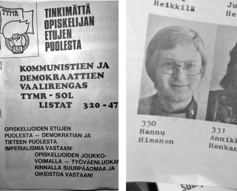 Tiedotusopin opiskelija Hannu Himanen vaalimainoksessa 70-luvun alkupuolella.