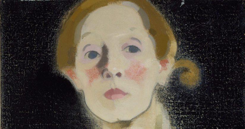 Helene Schjerfbeck: Mustataustainen omakuva (1915), osa. Kansallisgalleria/Ateneumin taidemuseo, kokoelma Hallonblad.