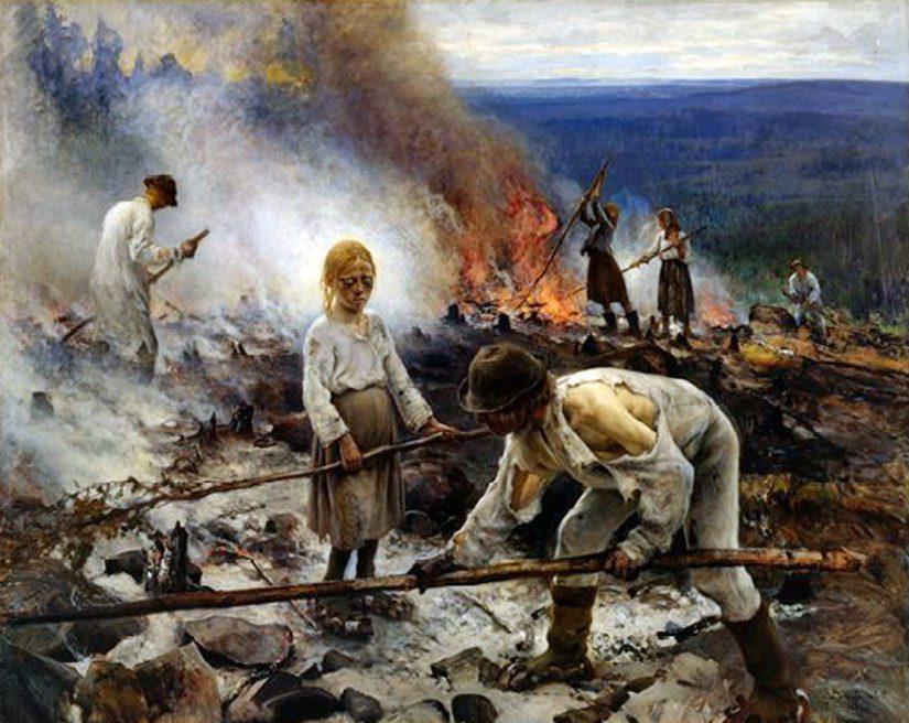Eero Järnefelt: Raatajat rahanalaiset (Kaski) (1893).