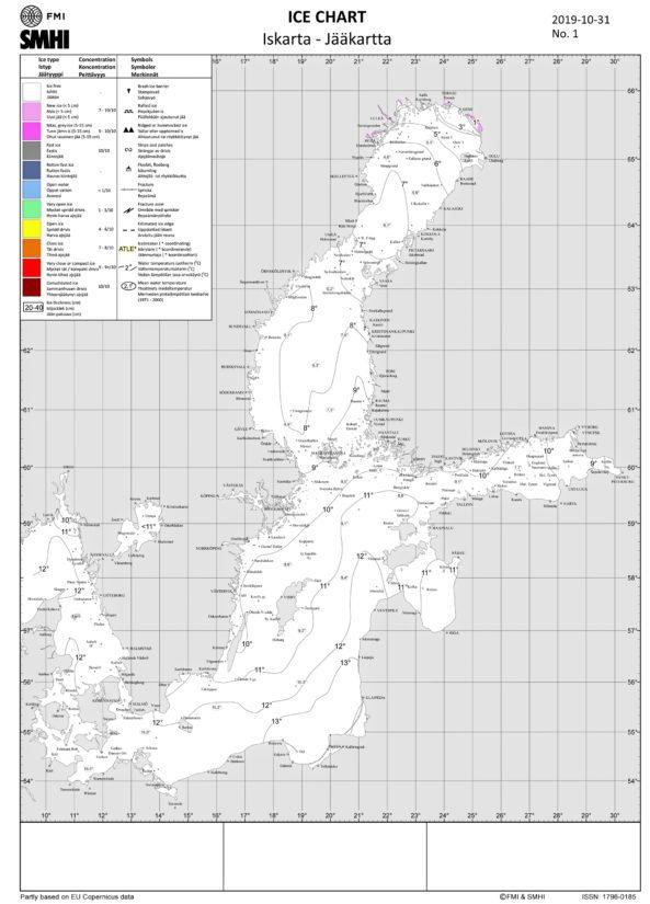 Jääkartta tehdään tänäkin vuonna yhteistyössä Ruotsin meteorologisen laitoksen jääpalvelun kanssa vuoroviikoin.