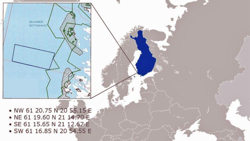 Jaakonmeren sijainti ja koordinaatit kartalla.
