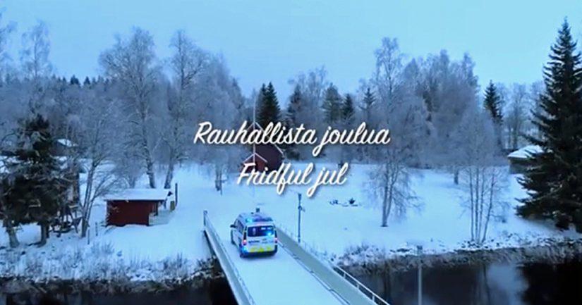 Oulun poliisin joulutervehdys kuullaan Jean Sibeliuksen sävelin.