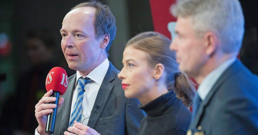 Äänikuninkaaksi ennustettua Jussi Halla-ahoa seuraa Pekka Haavisto, Li Anderssonin takana on Elina Lepomäki.