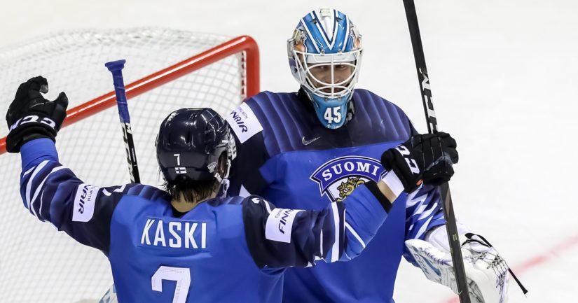 Jussi Olkinuora torjui MM-debyytissään nollapelin Iso-Britanniaa vastaan.
