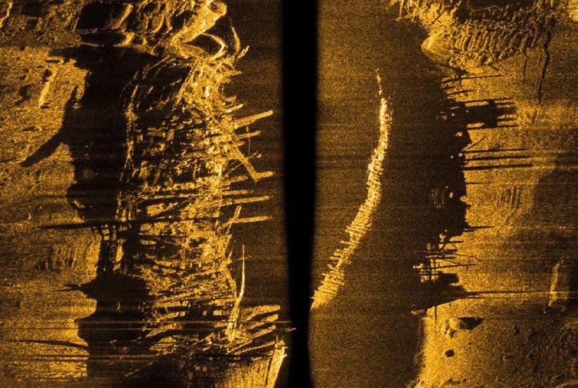 Viistokaikuluotaimen antama graafinen kuva noin 38 metriä pitkästä hylystä.
