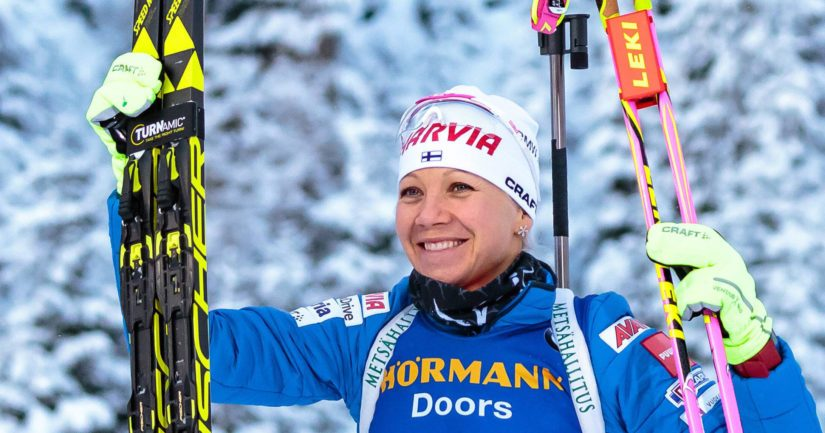 Kaisa Mäkäräinen oli puhtaissa hiihtoajoissa jälleen kisan nopein.