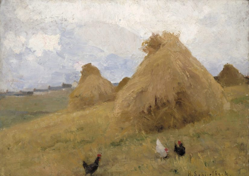Helene Schjerfbeck: Kanat heinäsuovien edessä, St Ives (n. 1887). Penlee House Gallery & Museum.