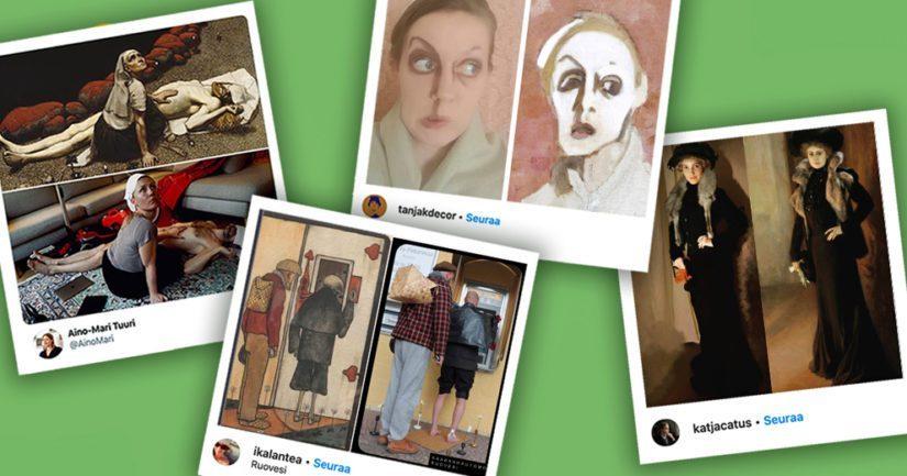Museokortti palkitsee kaksi parasta #karanteenitaidetta-kilpailuun osallistunutta teosta Museokortilla joka viikko aina keskiviikkoisin 29.4. asti. Kuvassa ensimmäisen viikon palkitut.