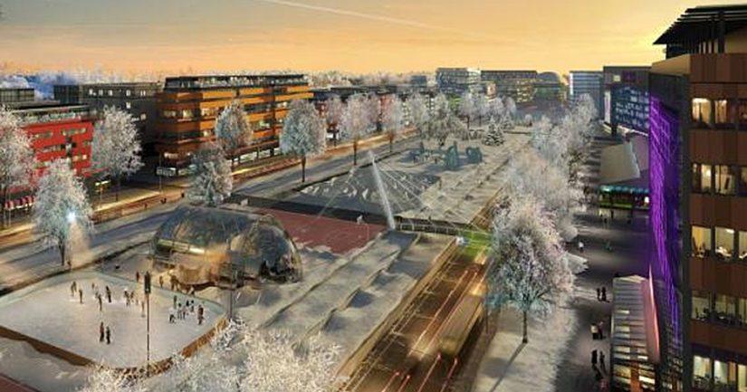 Talvinen kaupunkibulevardi näytti havainnekuvassa kuin tieteiselokuvasta.