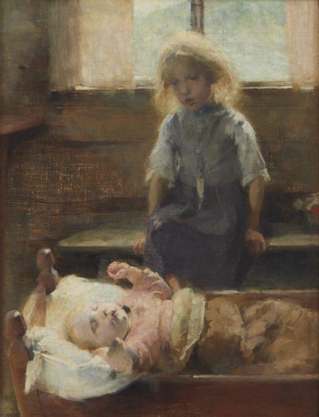 Helene Shjerfbeck, Kehtolaulu, öljy kankaalle, 1893. Lauri ja Lasse Reitzin säätiö. Teos on esillä Einar Ilmonin näyttelyssä Kimmo Pyykkö -taidemuseossa.