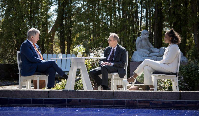 Kultaranta 2020 avauskeskustelussa tasavallan presidentti Sauli Niinistö, arkkiatri Risto Pelkonen ja Suomen Lukiolaisten Liiton puheenjohtaja Adina Nivukoski.
