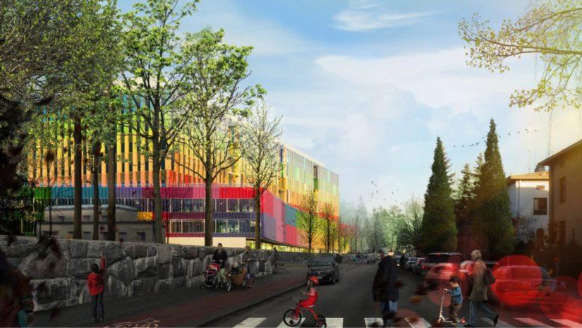 Bernerin luotsaaman Lastensairaalan julkisivu erottui värikkäänä havainnekuvassa Stenbäckin katua koilliseen.