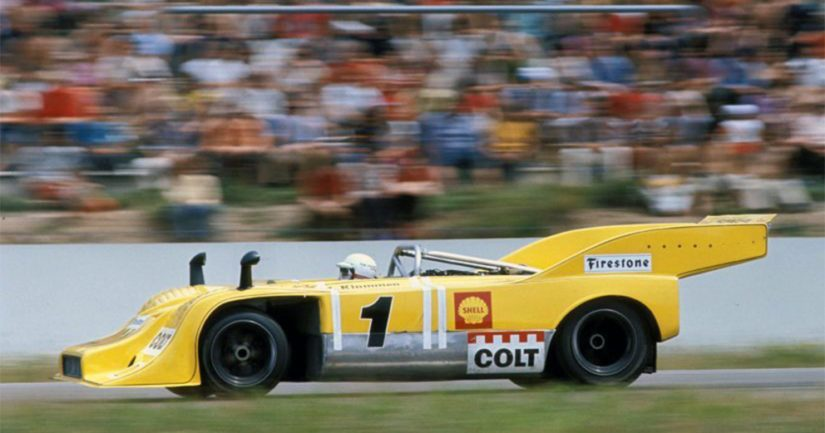 Leo Kinnunen Porschen ratissa vuonna 1972.