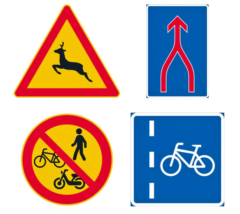 Uusia liikennemerkkejä. Vasemmalta ylhäältä katsoen: Kauriseläinvaroitus, ajokaistojen yhdistyminen, jalankulku ja polkupyörällä ja mopolla ajo kielletty sekä pyöräkaista.