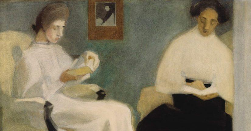 Helene Schjerfbeck: Lukevat tytöt (1907), teoksen osa. Kansallisgalleria/ Ateneumin taidemuseo.