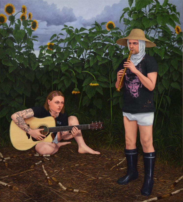 """""""Laulu ryövärinpesästä"""", 2020, Öljy kankaalle, 160 x 140 cm."""