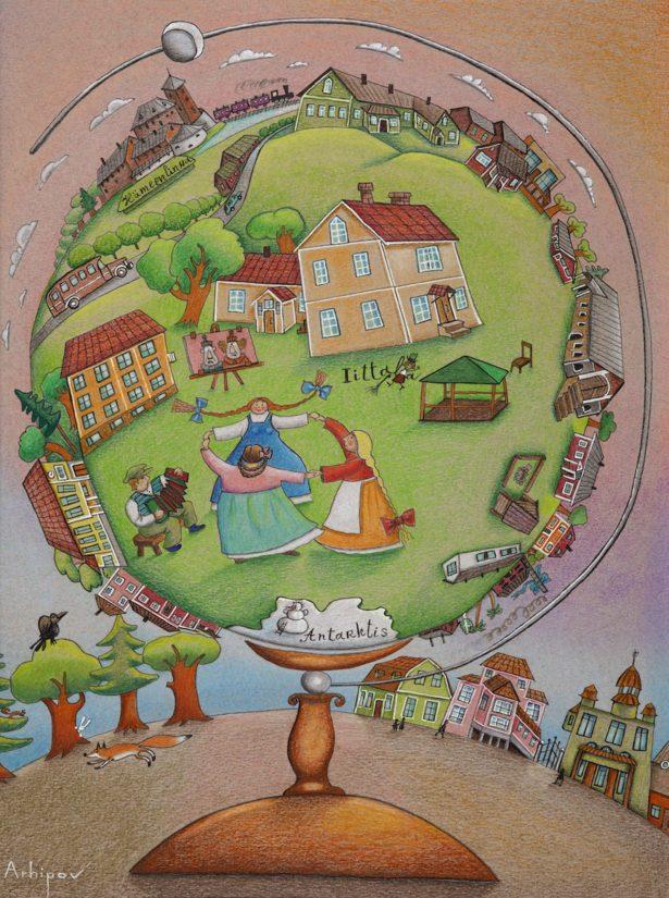 Iittala Maapallo-julisteen taiteilija on Sergei Arhipov.
