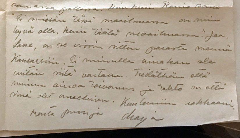 Lauri Törnin aikaisemmin tuntematon kirjeenvaihto sisältää pohdiskelua elämästä USA:ssa.