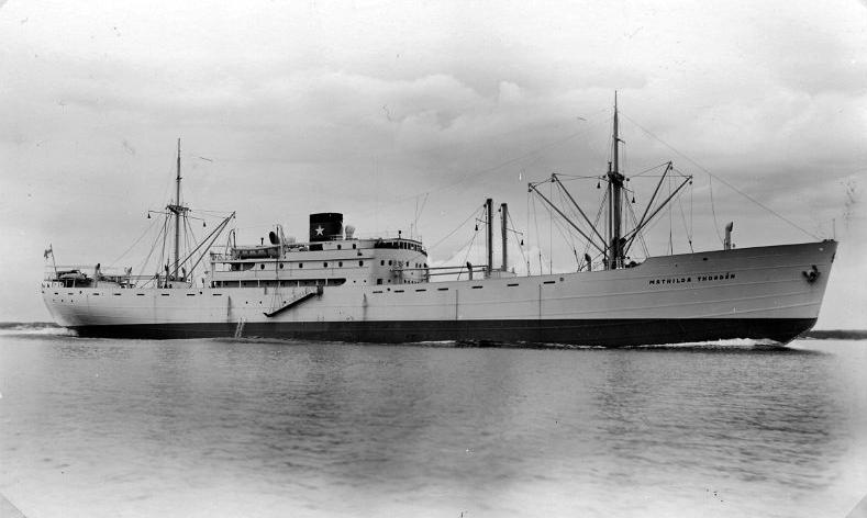 M/s Mathilda Thordén kuljetti sekä juutalaispakolaisia Amerikkaan että saksalaisten Norjassa pidättämät miehet. (Kuva Siirtolaisuusinstituutti)