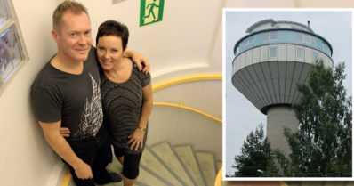 """Yrittäjäperhe rakensi persoonallisen ja hissittömän kodin vesitorniin – """"Pieni huojahtelu kuuluu asiaan"""""""