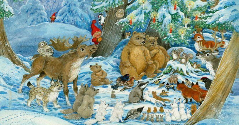 """Marjaliisa Pitkäranta on tunnettu erityisesti postikorttikuvituksistaan, kuvassa """"Metsän eläinten joulu""""."""