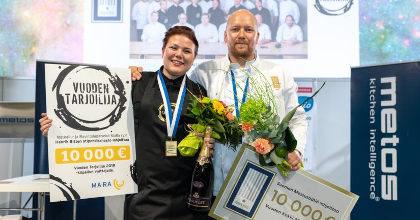 Vuoden Kokki 2019 on Mikko Kaukonen, Food Camp Finland ja Vuoden Tarjoilija 2019 Heidi Martikainen, ravintola Farang.