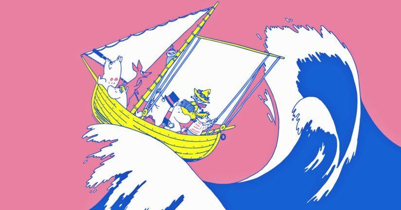 Rohkeus, rakkaus, vapaus! -näyttely kutsuu seikkailuun muumien kanssa.