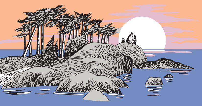 Mukin kuvaan piirtynyt saari on Tove Janssonin kesäpaikasta, jossa hän vietti lapsuutensa kesiä.