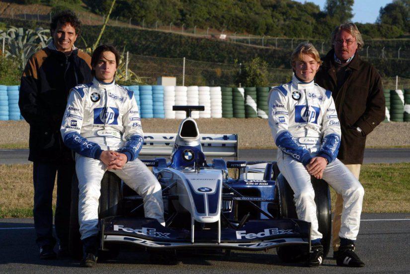 Tulevaisuus on edessä, vuonna 2003 Jerezin talvitesteissä Nelson Piquet Jr. ja Sr. sekä Nico ja Keke Rosberg. (Kuva AOP)