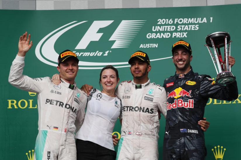 Yhdysvaltain Grand Prix:n kärkikolmikko. (Kuva AOP)