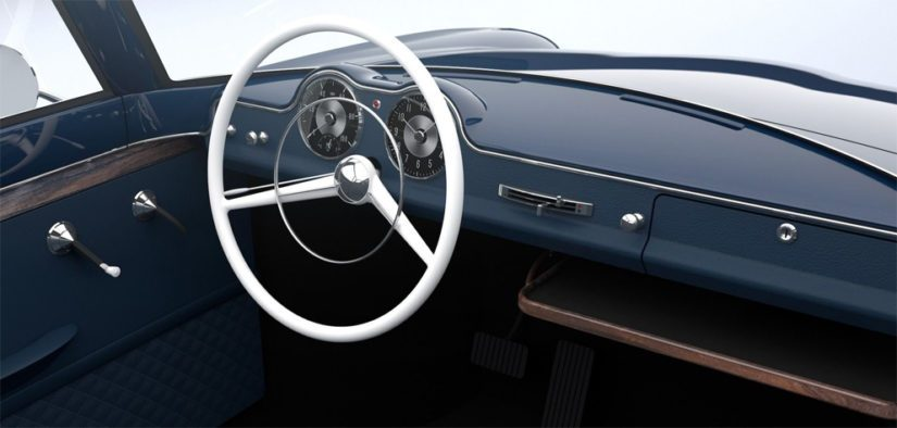 Klassinen linja jatkuu sisustassa, jota dominoi museoautojen tyylinen ohutkehäinen ratti.